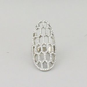 Silver Honeycomb Stretch Ring